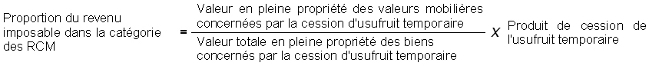 IR - Cession d'usufruit temporaire - Proportion RCM
