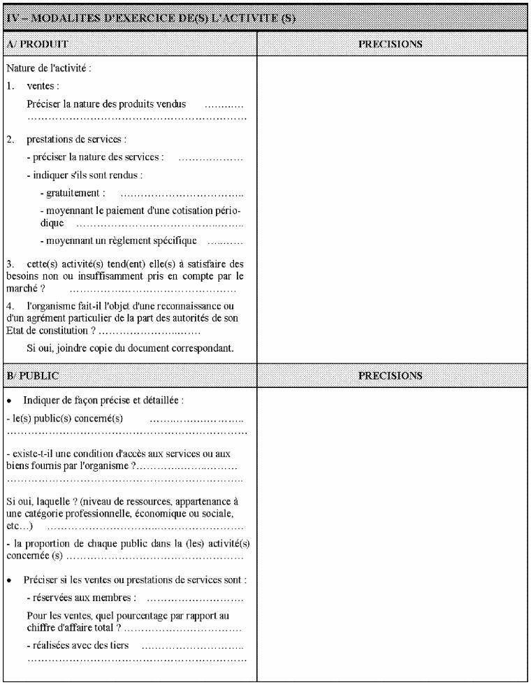 5ème partie du questionnaire relatif à la situation fiscale des OSBLn'ayant pas leur siège social en France