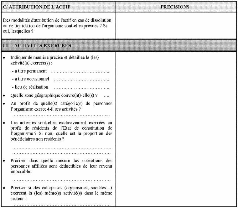 4ème partie du questionnaire relatif à la situation fiscale des OSBLn'ayant pas leur siège social en France