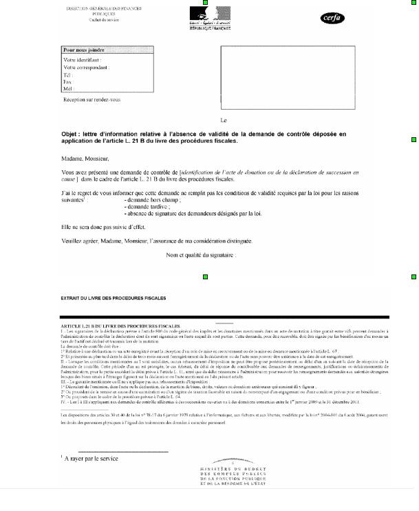 Lettre d'information sur l'absence de validité de la demande de contrôle déposée en application de l'article L21 B du LPF
