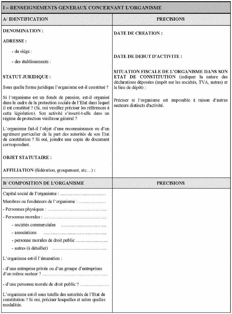 1ère partie du questionnaire relatif à la situation fiscale des OSBLn'ayant pas leur siège social en France