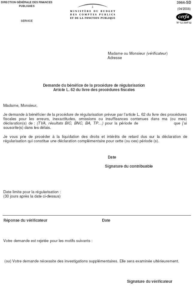 Lettre Cf Lettre De Demande Du Benefice De La Procedure De Regularisation Article L 62 Du Lpf Bofip Impots Gouv Fr