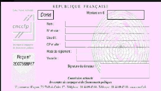 ANNEXE - IR - Modèle de reçu délivré au donateur pour le financement des partis politiques, campagnes électorales et cotisations versées à un parti ou à un groupement politique