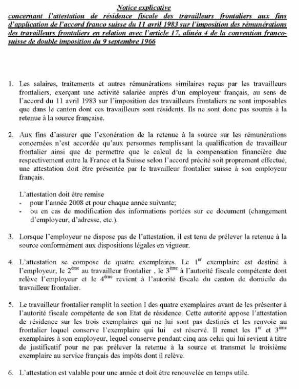 FORMULAIRE - INT - Attestation de résidence fiscale suisse des travailleurs frontaliers résidents suisses (image1)