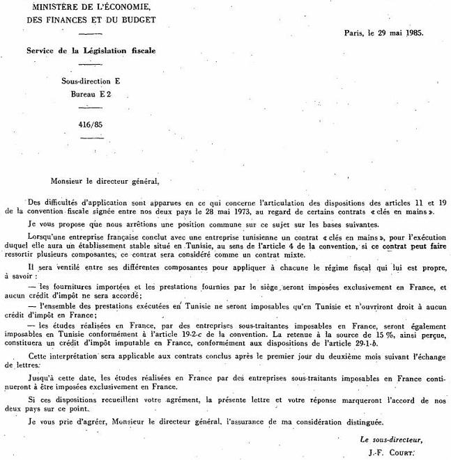 ANNEXE - INT - Lettre du 29 mai 1985 entre la France et la Tunisie